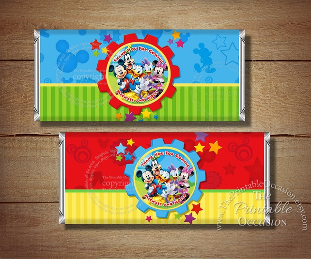 SET OF 2 Personalized Clubhouse Mickey Mouse Candy Bar Wrapper, Mickey Mouse Minnie Mouse Printable Candy Bar Wrappers