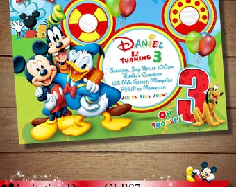 Mickey Mouse ClubHouse Invitation, Mickey Invitation, Mickey Invitation, ClubHouse Invitation, Mickey ClubHouse Invitation, PRINTABLE FILE