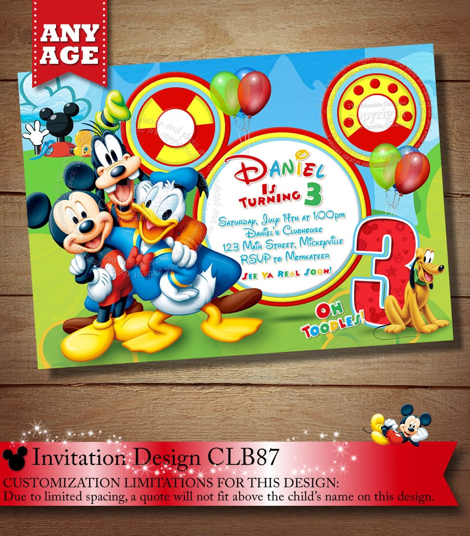 Same Day Svc Mickey Mouse Clubhouse Invitation Mickey Etsy