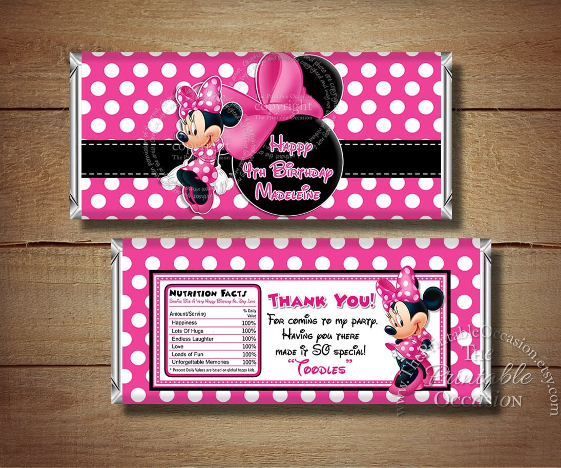 Minnie Mouse Candy Bar Wrapper Black Pink Polka Dots Minnie   Etsy