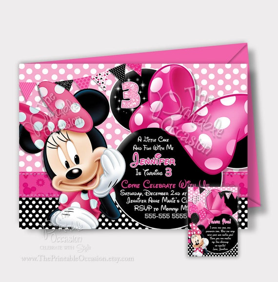 SAME DAY SVC Minnie Mouse Birthday Invitation Pink Minnie Mouse