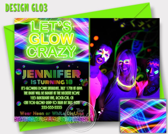 439ee7d4ebf SAME DAY SVC Glow Invitation Glow Party Invitation Neon
