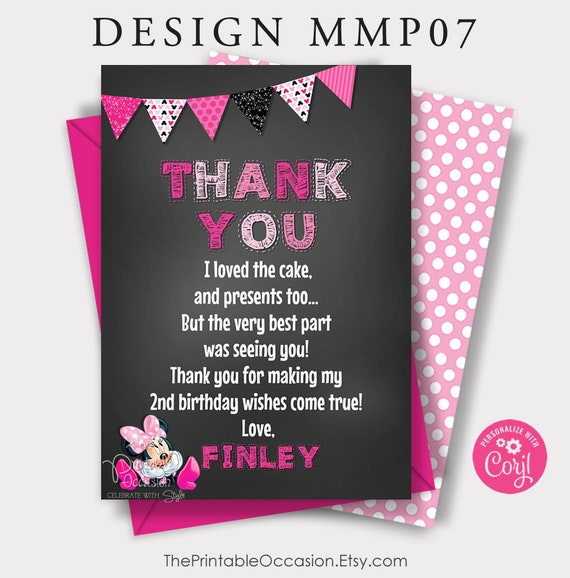 Minnie mouse thank you card Digital file Minnie mouse chalkboard thank you card