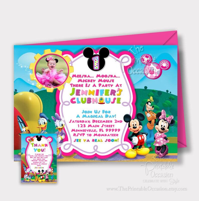 SAME DAY SVC Minnie Mouse Clubhouse Invitation Mickey Minnie  7dac30ebc6a