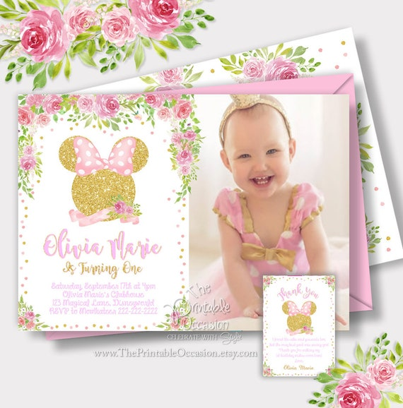 Same Day Svc Light Pink And Gold Minnie Mouse Birthday Invitation