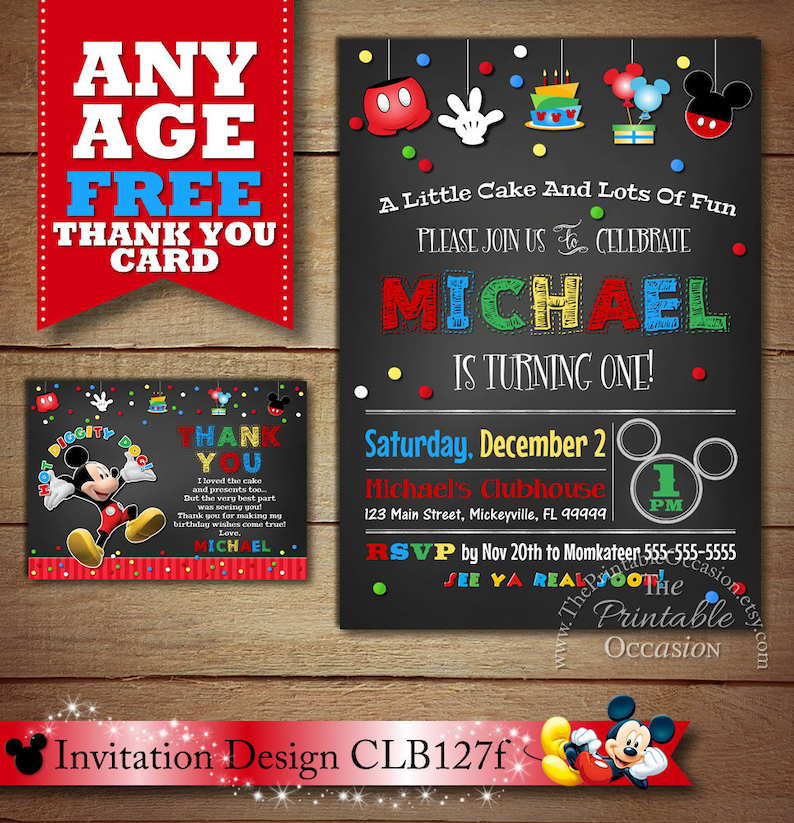 photograph relating to Come Inside It's Fun Inside Free Printable named Exact Working day SVC Mickey Mouse Birthday Invites, Mickey Mouse Birthday Invitation, Chalkboard Mickey Mouse, Image Invitation, Printable