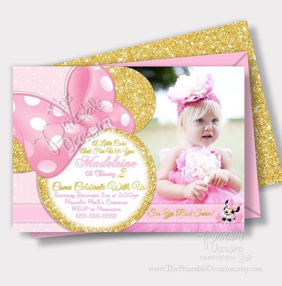 Same Day Svc Minnie Mouse Pink And Gold Invitations Light Pink And
