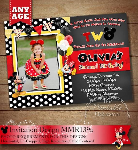 SAME DAY SVC Red And Yellow Minnie Mouse Birthday Invitation Polka Dot Printable