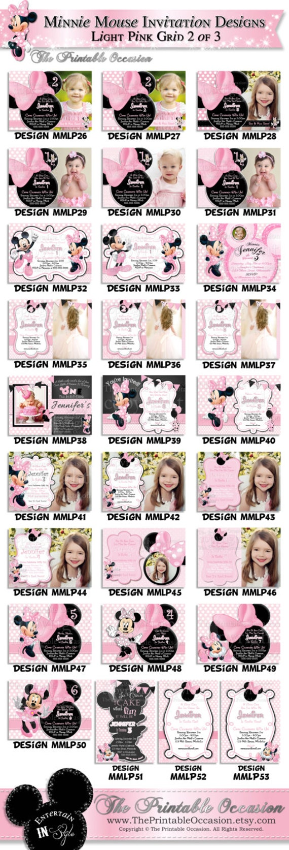 HUGE SELECTION Chevron Minnie Mouse Birthday Invitation Girls Second Third Fourth