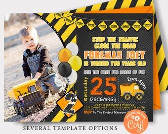 EDITABLE Construction Invitation, Construction Birthday Invitation, Construction Birthday Invite, Construction Construction Party Invitation