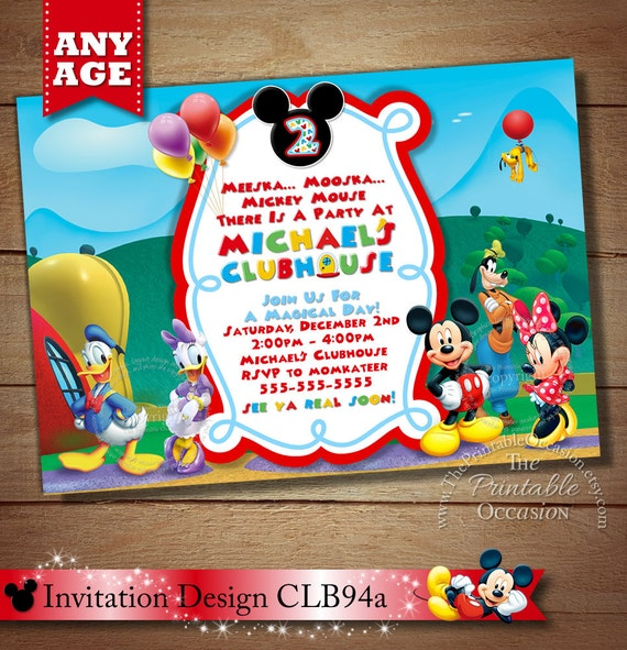 Same Day Svc Mickey Mouse Birthday Invitation Clubhouse Etsy