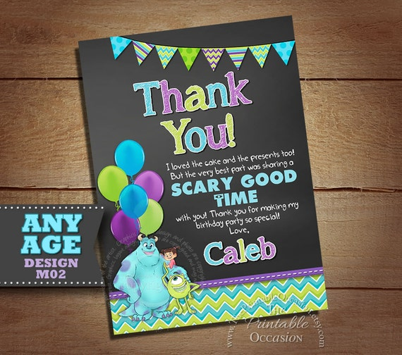 Monster Inc Thank You Card Photo