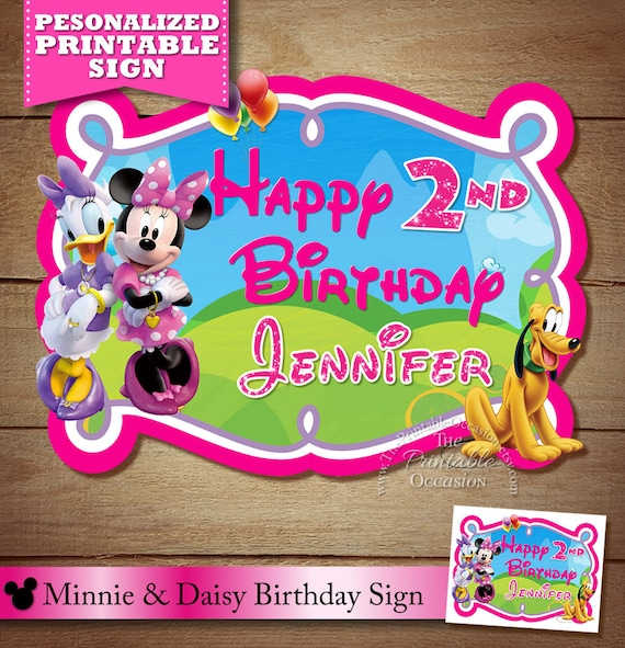 Minnie Mouse Clubhouse Sign Birthday Party Decor Daisy Duck PRINTABLE File