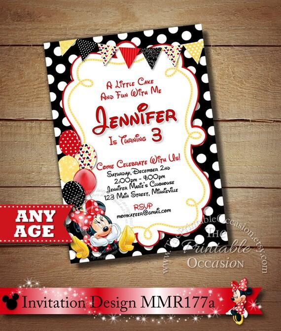 SAME DAY SVC Red Minnie Mouse Birthday Invitation Polka Dot Printable