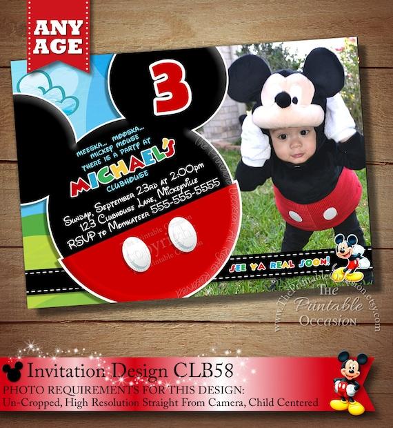 Same Day Svc Mickey Mouse Invitation Mickey Birthday Invitation