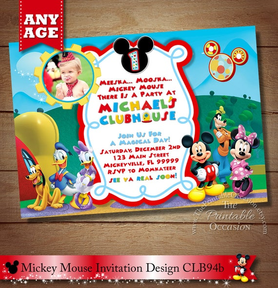SAME DAY SVC Mickey Mouse ClubHouse Invitation