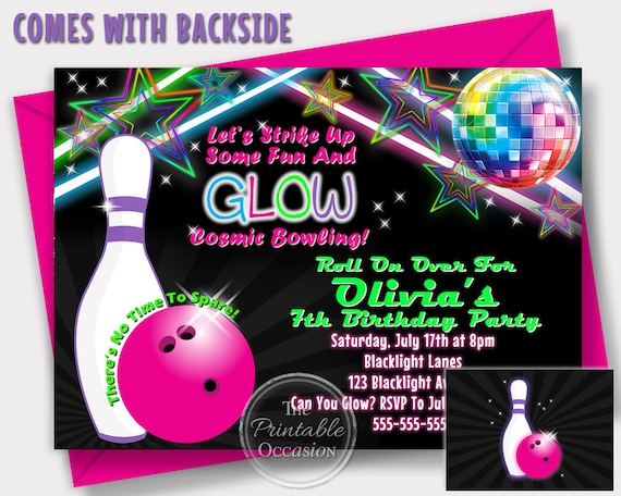 SAME DAY SVC Girls Glow Bowling Invitations Birthday Party