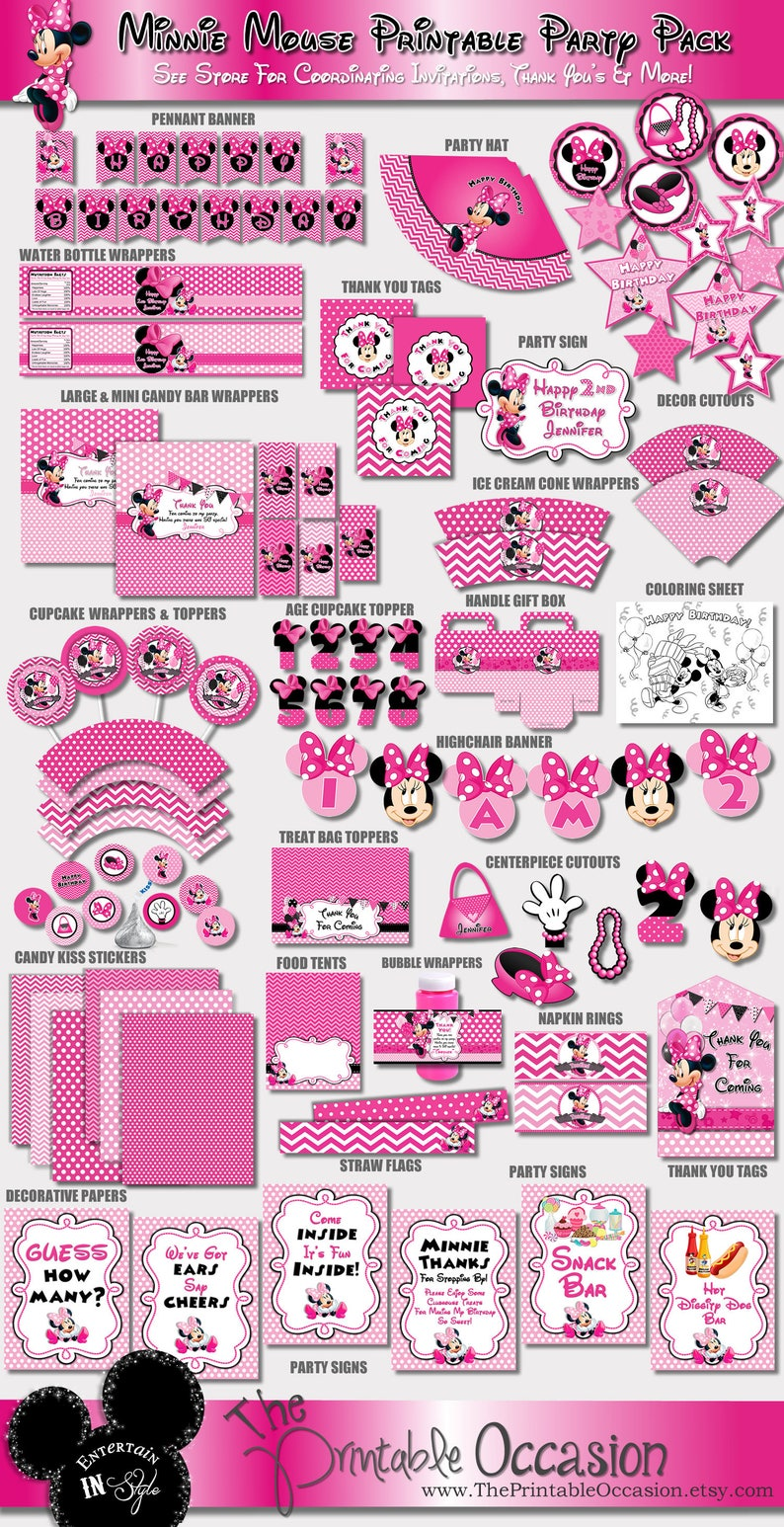 SAME DAY SVC Pink Minnie Mouse Party Decorations Pink Chevron image 0