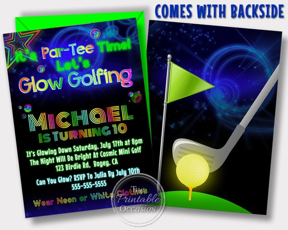 Same Day Svc Glow Golf Invitations Glow Golf Birthday Party Golf