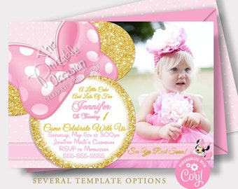 EDITABLE First Birthday Minnie Mouse Invitation Template, Instant Download Pink & Gold Minnie Mouse Birthday Invitations, Invitations MMLPG