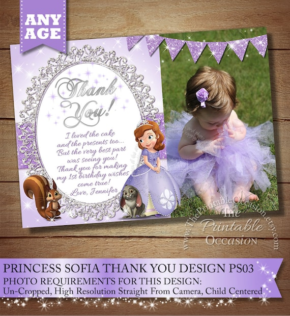 Sofia The First Thank You Card To Match Invitation Princess Etsy