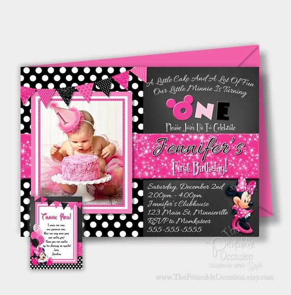 Same Day Svc Minnie Mouse Birthday Invitation Minnie Mouse
