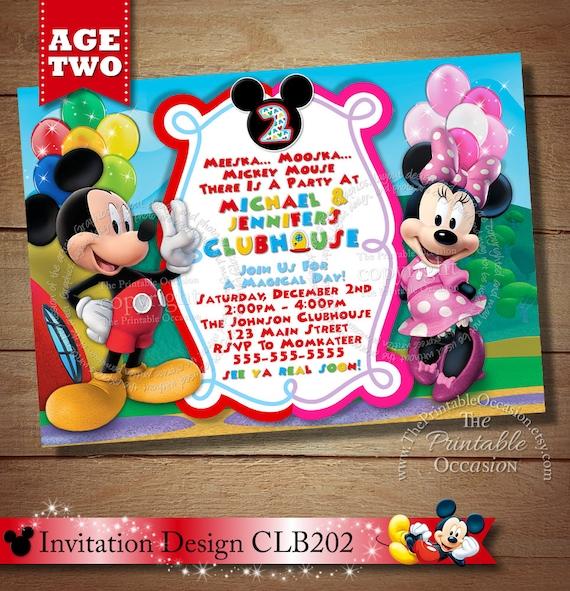 Same Day Svc Mickey Minnie Twins Birthday Invitation Twins Siblings