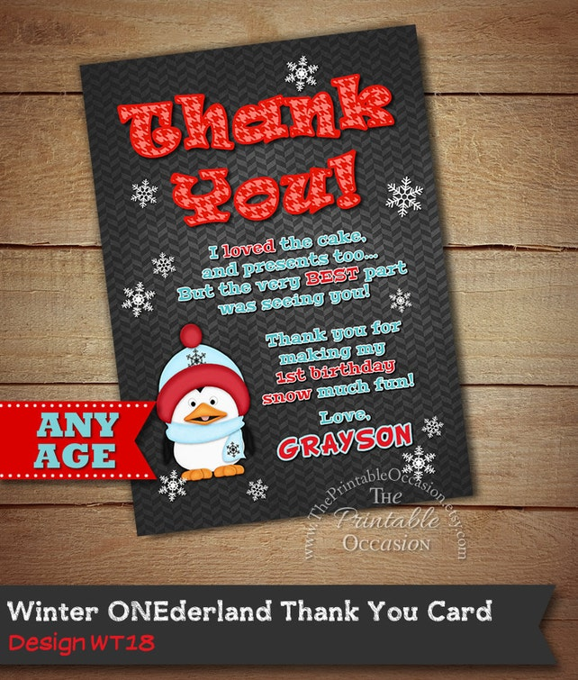 Winter ONEderland Invitation, Winter Onederland Thank You Card, First Birthday, 1st Birthday, Snowflakes, Penguin Thank You Card, Boy's