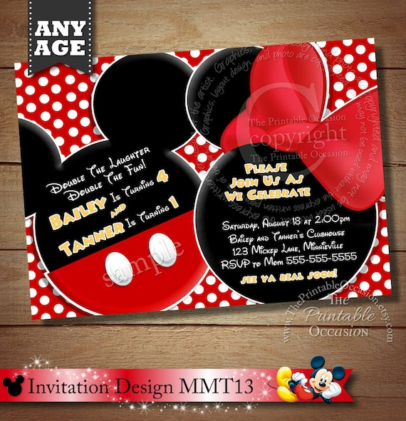 Same Day Svc Mickey Mouse Invitation For Twins Minnie Mouse Etsy