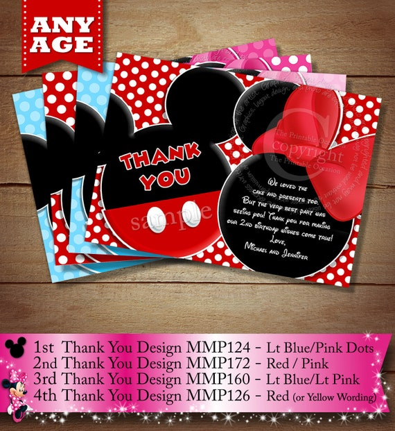 You Choose Mickey Mouse Thank You Card For Twins Or Siblings Mickey
