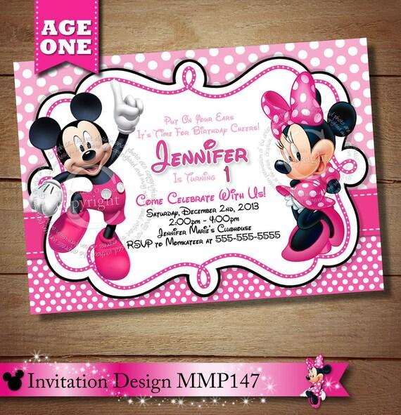 SAME DAY SVC Mickey Minnie Mouse First Birthday Invitation