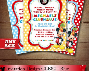 HUGE SELECTION Red Yellow Blue Polka Dot Mickey Mouse Invitation, Clubhouse Mickey Mouse Invitation, Second Birthday, Third Birthday