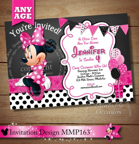 HUGE SELECTION Chalkboard Minnie Mouse Birthday Invitation