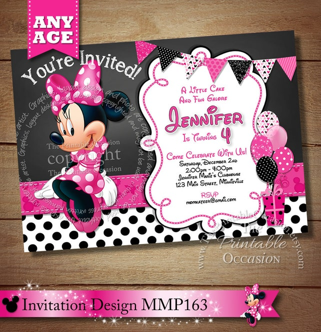 HUGE SELECTION Chalkboard Minnie Mouse Birthday Invitation DIY