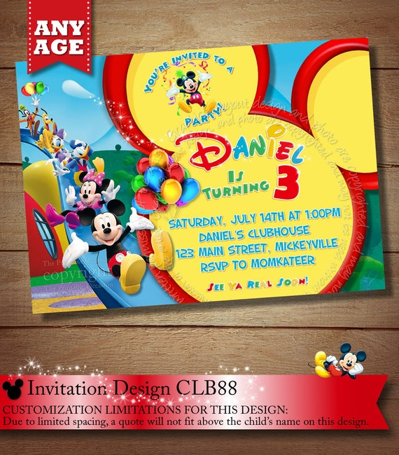 SAME DAY SVC Mickey Mouse Clubhouse Invitations
