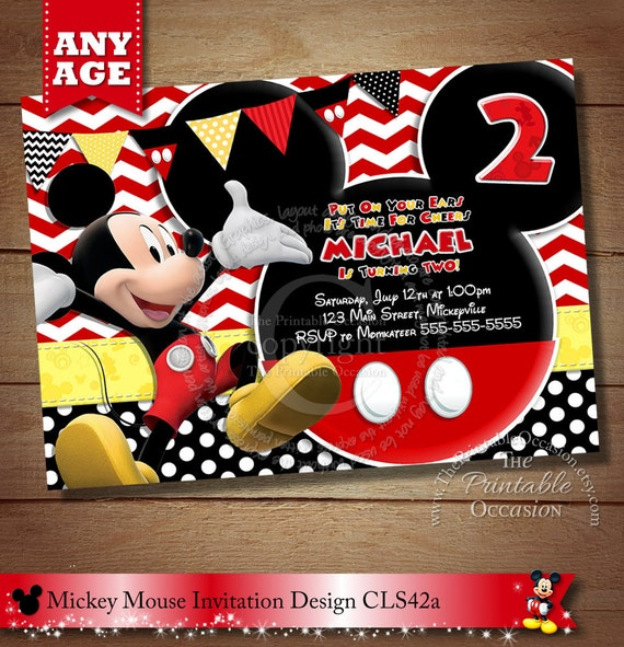 Same Day Svc Mickey Mouse Birthday Invitations Birthday Invitations