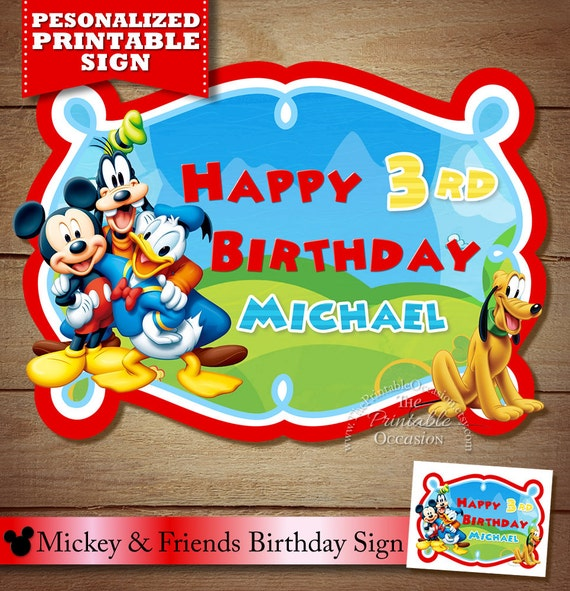 Mickey Mouse Clubhouse Sign Birthday Party Decor PRINTABLE DIGITAL DIY File