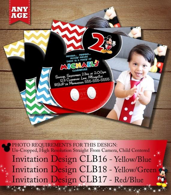 SAME DAY SVC Chevron Mickey Photo Invitation Mouse Third Birthday Second