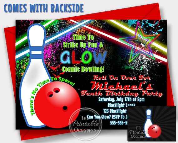 On Sale Same Day Svc Girl S Glow Bowling Invitations Etsy