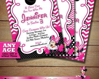HUGE SELECTION Pink Chevron Minnie Mouse Birthday Invitation, Polka Dot Minnie Mouse Printable Invitation, Minnie Mouse Birthday Invitation