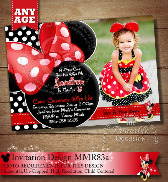 Same Day Svc Minnie Mouse Invitations Red Minnie Mouse Polka Etsy