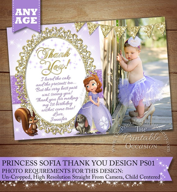 Sofia The First Thank You Card To Match Invitation Princess Thank