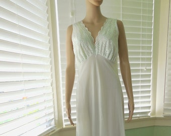 cac3f94591 Vintage NIGHTGOWN VAN RAALTE Long Nightgown Sleeveless Nightgown Empire  Waist Light Blue Nylon Lace Mad Men Lingerie 60s Lingerie Size 36