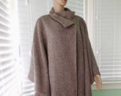 Elegant WOOL Coat CENTRAL PARK Wool Cape Coat Boho Chic Poncho Beige Wool Cape Long Wrap Cape Elegant Wool Cape Retro Vintage Cape Open Size