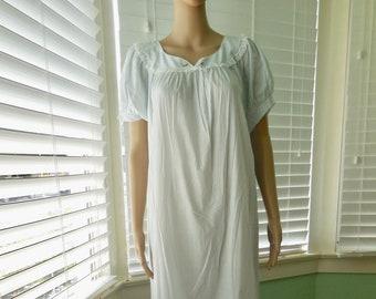 7b096189ea Vintage COTTON NIGHTGOWN Cotton Blend Nightgown Babydoll Nightgown Light  Blue Nightgown White Lace Trim 60s Lingerie NOCTURNE Medium-Large