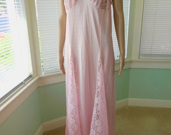 Vintage PINK Nightgown ALAN R Long Nightgown Full Length Nightgown Pink  Negligee Sheer Lace Sleeveless Nightgown 70s Vintage Nightgown Large a8936ac3d