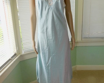 33ae64509b Womens NIGHTGOWN Vintage Nightgown Long Nightgown Sheer Lace Sleeveless  Nightgown Long Blue Nightgown Crystal Blue Vintage Lingerie Small