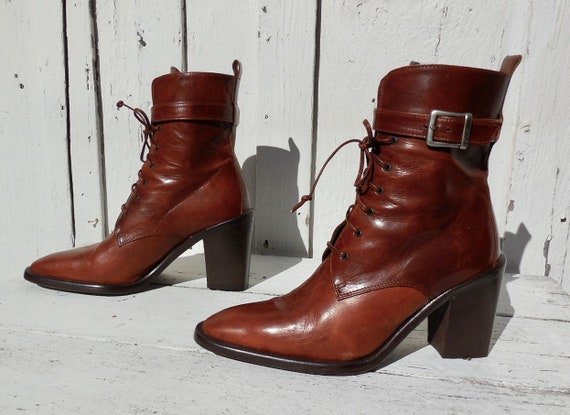 Leather ANKLE Boots JOAN & DAVID Womens Mid Calf B