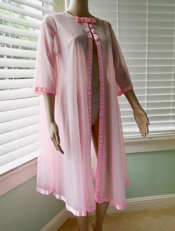 60s PINK CHIFFON Robe Babydoll Robe Pink Chiffon S