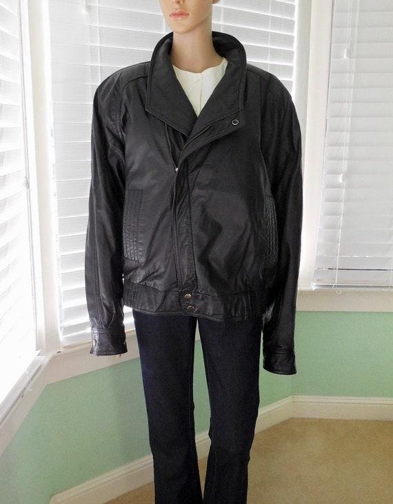 Mens Black LEATHER Jacket BERMANS Leather Jacket M